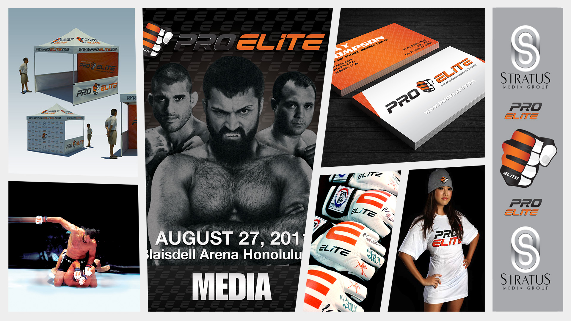 proelite brand identity design mixed martial arts mma