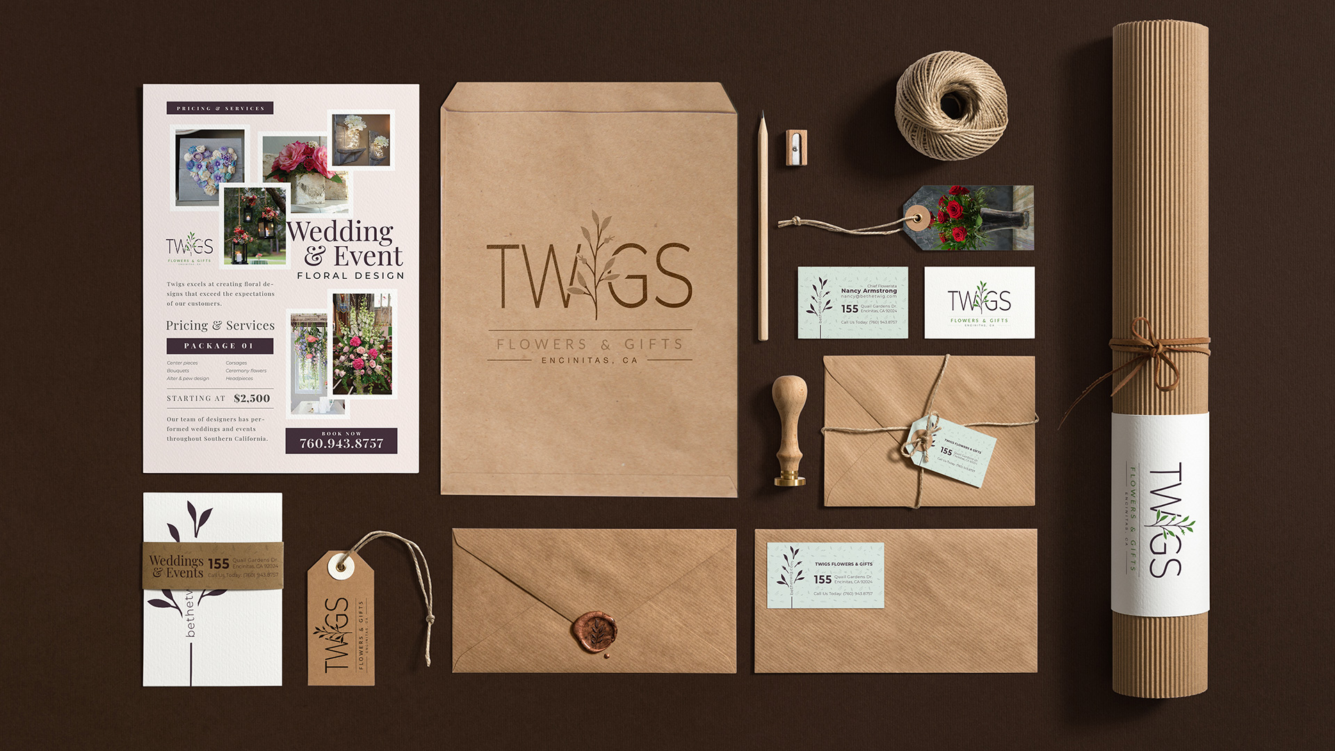 identity design stationery business cards tags twigs encinitas