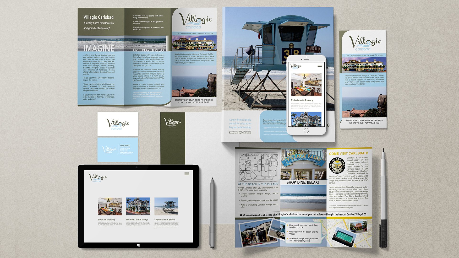 identity design web design marketing villagio carlsbad